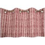 Batikprick en färdigsydd gardinkappa med öljetter, art.nr 21836-38. Färg: Vit botten med röda toner.