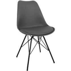 Comfort matstol i grå plast med svarta ben