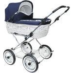Eichhorn SEN-WW-K041-RFS-AIR väderkorg barnvagn med läderremsställ med skjutjustering korg vitt, lufthjul, tyg marinblå