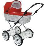 Eichhorn SEN-WW-K042-RFS-AIR väderkorg barnvagn med läderremsställ med skjutreglering korg vitt, lufthjul, tyg röd