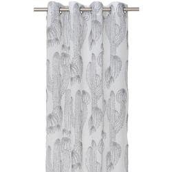 Elly ett gardinset med två öljettlängder. Färg: Vit med grå kaktusar. Mått 2 x 140 x 240 cm.