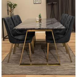 Estelle matbord grå/mässing + velvet lyx svarta