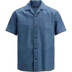JACK & JONES Denim Resort Kortärmad Skjorta Man Blå