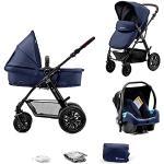 Kinderkraft Barnvagn 3-i-1 MOOV, Travel System, Barnvagnsset, Bilbarnstol, Sittvagn, Resevagn, Extra spädbarnsinlägg, 4 fjädrande gummilufthjul, Tillbehör, Marinblå