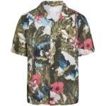 Knowledge Cotton Apparel Wave Loose Fit Hawaii Printed Linen Shirt - Vegan Herr Kortärmad skjorta Grön M