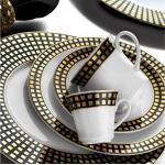 Kütahya Middagsservis 97 Delar Porslin - Vit/Svart/Guld
