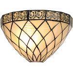 Lumilamp 5 LL-1138 Vägglampa Tiffany filigrees natur beige komplett 30 x 15 cm/1 x E14 max 40 w. dekorativt glas handgjord tiffany stil retro antik stil
