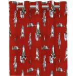 Nissar ett julgardinset med öljetter från Redlunds. Färg: Röd med små tomtar i grått och grönt.