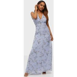 NLY Eve Gorgeous Frill Gown Maxiklänningar Blå Mönstrad