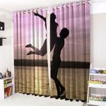 Öljett ringtopp gardiner 3D gardiner 16 populära mönster. (132 cm bred x 220 cm hänge, solnedgång)