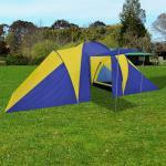 vidaXL Campingtält 6 personer 580x240x200cm marinblå/gul