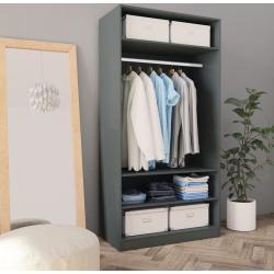 vidaXL Garderob grå 100x50x200 cm spånskiva