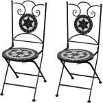 vidaXL Hopfällbara caféstolar 2 st keramik svart och vit