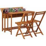vidaXL Planteringsbord med 2 bistrostolar massivt akaciaträ