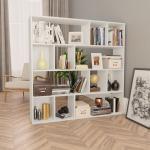 vidaXL Rumsavdelare/bokhylla vit 110x24x110 cm spånskiva