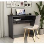 vidaXL Skrivbord grå högglans 90x50x74 cm spånskiva