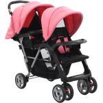 vidaXL Syskonvagn rosa och svart stål
