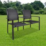 vidaXL Trädgårdsbänk 2-sits 131 cm stål och textilene svart