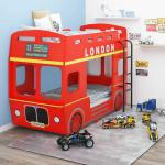vidaXL Våningssäng London Bus röd MDF 90x200 cm