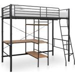 vidaXL Våningssäng med bord svart metall 90x200 cm